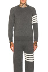Thom Browne Cashmere 4 Bar Stripe Crewneck Sweatshirt In Gray