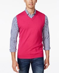 Club Room Men's Big And Tall Heartland V Neck Sweater Vest Cherry Pink