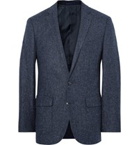 J.Crew Blue Ludlow Slim Fit Herringbone Wool And Cotton Blend Blazer Navy