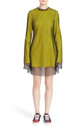 Marques Almeida Women's Marques'almeida Long Sleeve Mesh Minidress Yellow Black