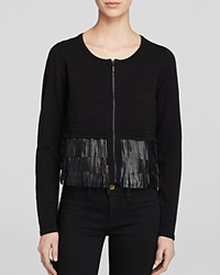Nanette Lepore Sweater Fierce Fringe Cardigan Black