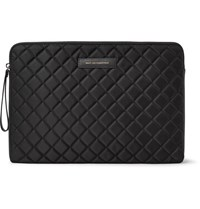 Want Les Essentiels Florio Leather Trimmed Quilted Shell And Mesh Laptop Case Black