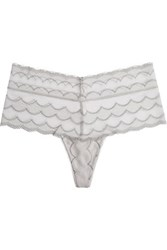 Yummie Tummie By Heather Thomson Jane High Rise Stretch Lace Thong Light Gray