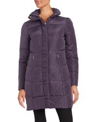 Ellen Tracy Quilted Faux Fur Lined Jacket Plum