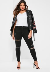 Missguided Plus Size Black High Waisted Ripped Skinny Jeans