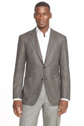 Canali Classic Fit Houndstooth Wool Sport Coat Brown