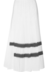 Fendi Mesh Trimmed Cotton Taffeta Maxi Skirt