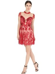 Fabiana Milazzo Floral Embroidered Tulle Dress