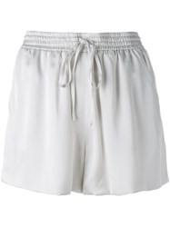 Chloe Satin Drawstring Shorts Grey