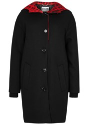 Moschino Black Wool Blend Coat Multicoloured