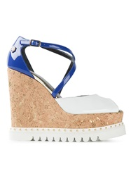 Philipp Plein Platform Wedge Sandals White