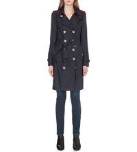 Burberry Sandringham Silk And Wool Blend Trench Coat Navy