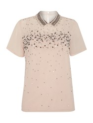 Dickins And Jones Scatter Bead Embellished Top With Collar Blush