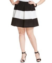 Soprano Plus Size Striped Pleated Flare Skirt