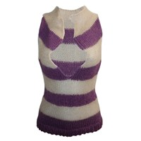 Claire Andrew Striped Knit Top With Open Neck Pink Purple Nude