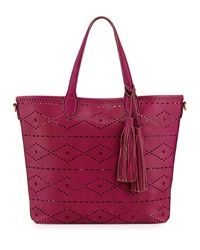 Isabella Fiore Aurora Floral And Diamond Perforated Tote Bag Magenta