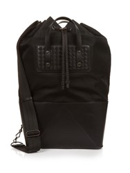 Bottega Veneta Leather Base Drawstring Tote Black