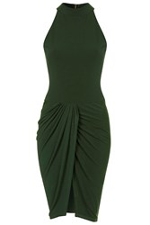 High Neck Drape Skirt Dress By Wal G Green