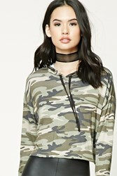 Forever 21 Camo Print Hoodie Top Taupe Olive