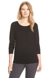 Women's Nordstrom Collection Scoop Neck Silk And Cashmere Pullover Black
