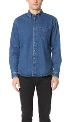 Schnayderman's Leisure Denim Snap Shirt Dark Blue