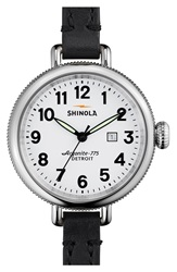 Shinola 'The Birdy' Double Wrap Leather Strap Watch 34Mm Black White
