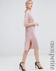 Asos Petite Pliss T Shirt Dress Pink