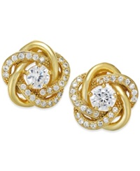 Macy's Cubic Zirconia Love Knot Earrings In 18K Gold Over Sterling Silver