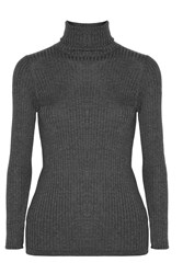 Vince Ribbed Knit Turtleneck Sweater Gray
