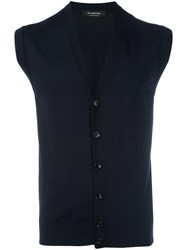 Ermenegildo Zegna Sleeveless Cardigan Blue