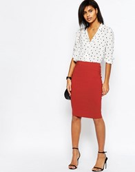Asos High Waisted Pencil Skirt Brick Red
