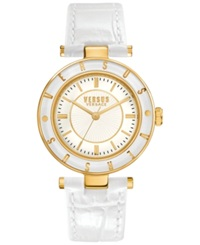 Versus By Versace Women's White Leather Strap Watch 34Mm Sp8150015