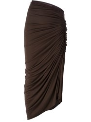 Rick Owens Lilies Draped Midi Skirt Brown