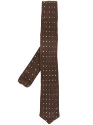Eleventy Dotted Woven Neck Tie Brown