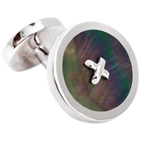 Thomas Pink Mother Of Pearl Silver Buttons Cufflinks Silver Grey