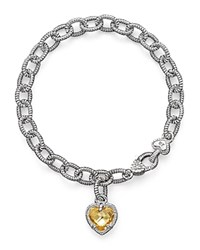 Judith Ripka Sterling Silver Single Heart Canary Crystal Charm Bracelet Yellow Silver