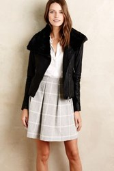 Anthropologie Collared Leather Moto Jacket Black