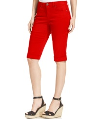 Style And Co. Cuffed Capri Skimmer Jeans New Red Amore