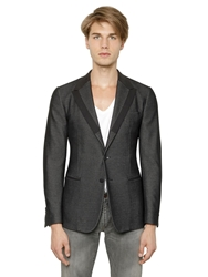 Dolce And Gabbana Deconstructed Wool And Cotton Jacket Black