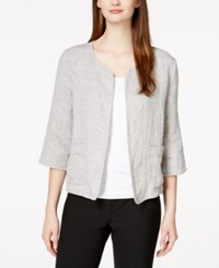 Eileen Fisher Three Quarter Sleeve Textured Blazer