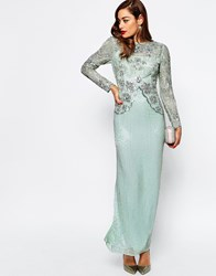 Asos Red Carpet Linear Long Sleeve Embellished Maxi Dress Mint Green