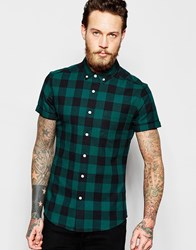 Asos Skinny Shirt With Buffalo Check In Green With Short Sleeves Green