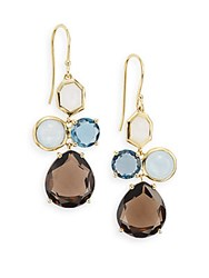 Ippolita Rock Candy London Blue Topaz Milky Aquamarine Smoky Quartz White Moonstone And 18K Yellow Gold Gelato Drop Earrings Gold Multi