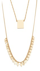 Madewell Long Band Layering Necklace Vintage Gold