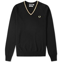 Fred Perry Reissues Single Tipped Merino V Neck Sweater Black