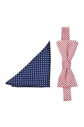 Alara Silk Freedom Bow Tie And Pocket Square Set Red