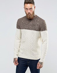 Asos Cable Knit Jumper With Colour Block Brown
