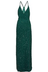 Mikael Aghal Sequined Tulle Gown Green