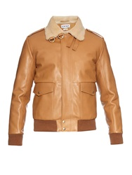 Loewe Sheepskin Collar Leather Aviator Jacket