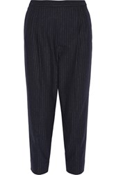 Maison Martin Margiela Cropped Pinstriped Woven Tapered Pants Midnight Blue